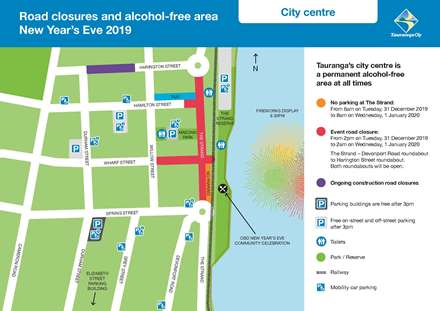 Road closures and alcohol-free areas New Years Eve