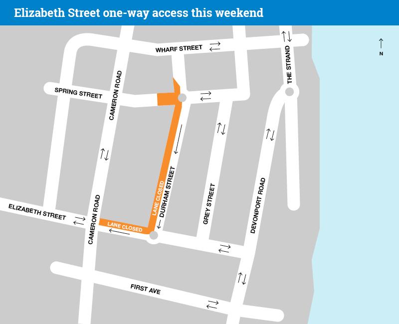 Elizabeth Street one-way access map