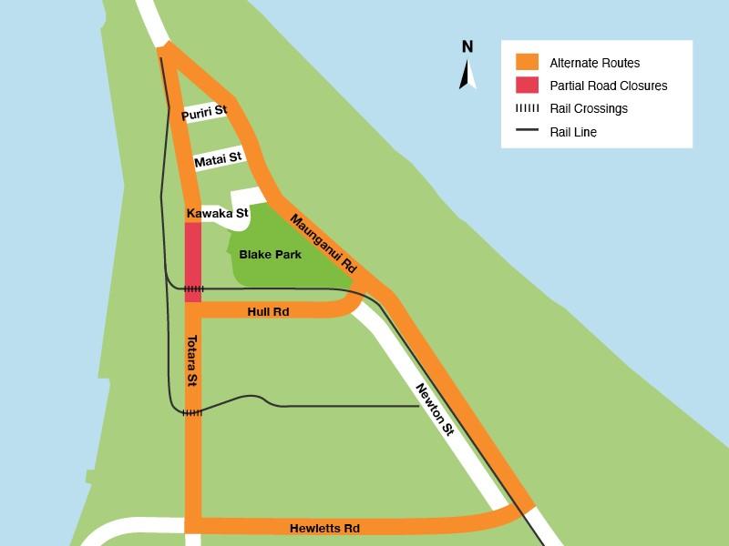 Totara Street Closure - Detour Route through Hewletts and Maunganui Roads