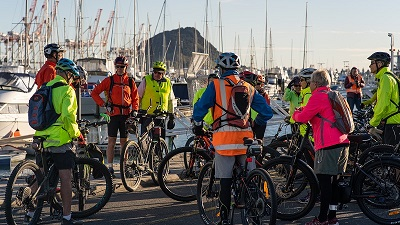 Group of bikers with hi-vis vest's on to show the be bright be safe be seen movement.