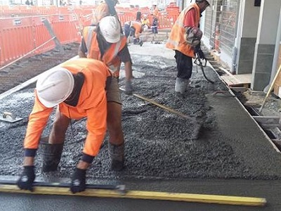 Concrete Treated Footpath Basecourse in place outside Trustpower