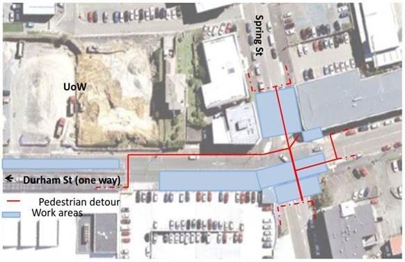 Spring and Durham Street Pedestrian Detour