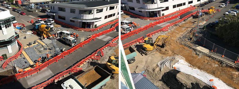 Excavation of Spring Street intersection prior to base layer of metal being laid