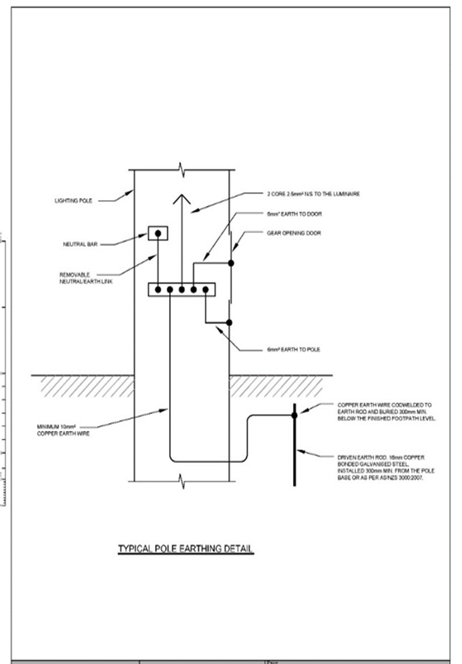 column earthing detail