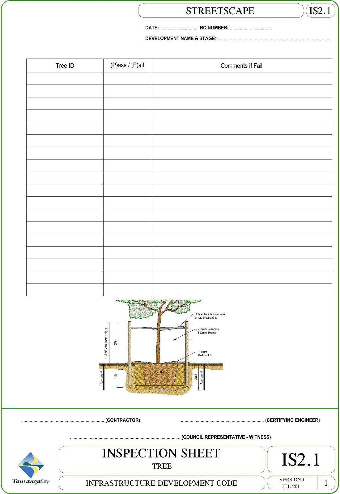 Inspection Sheet - Tree