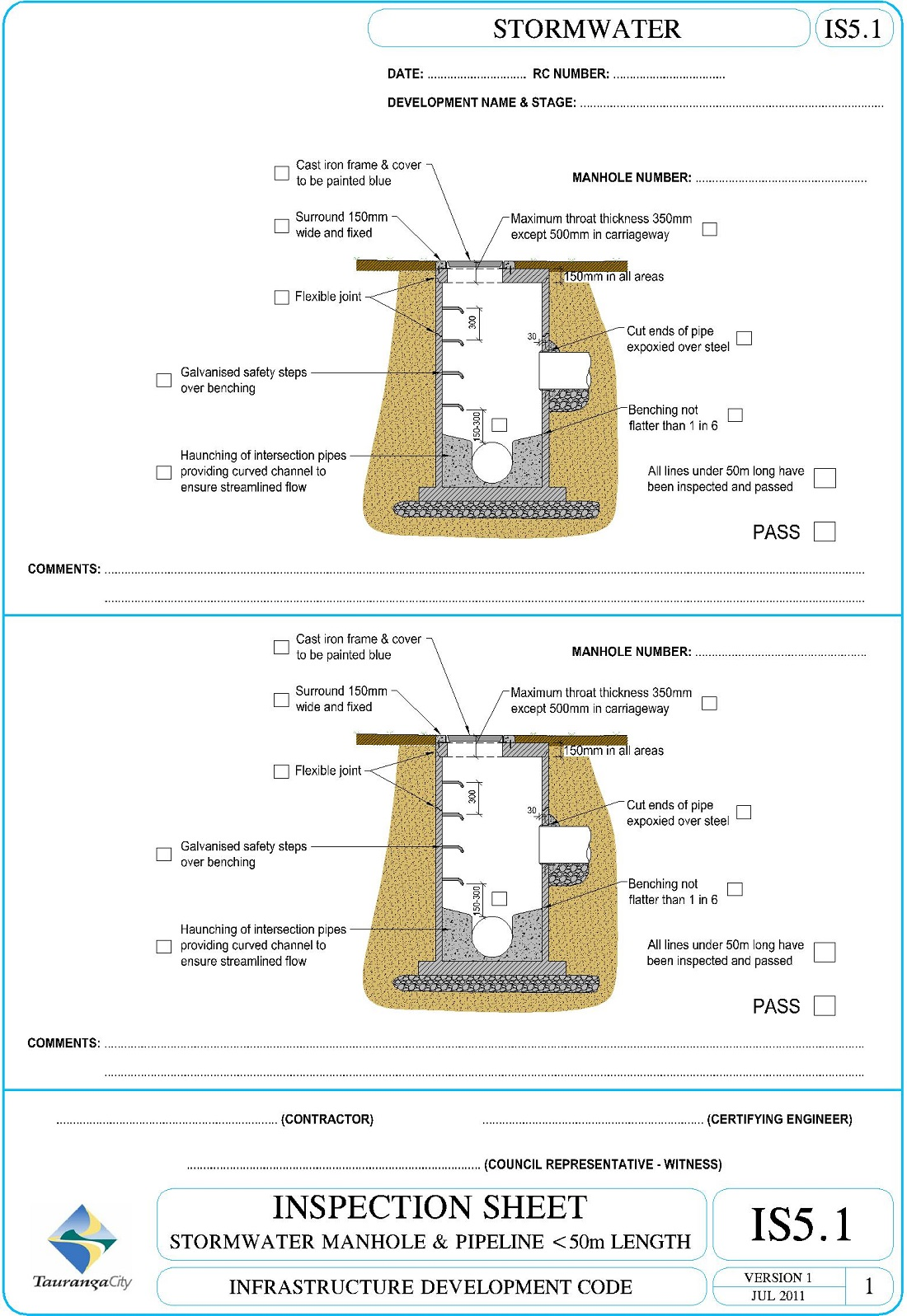 IS5.1 Inspection Sheet - Stormwater Manhole & Pipeline <50m Length