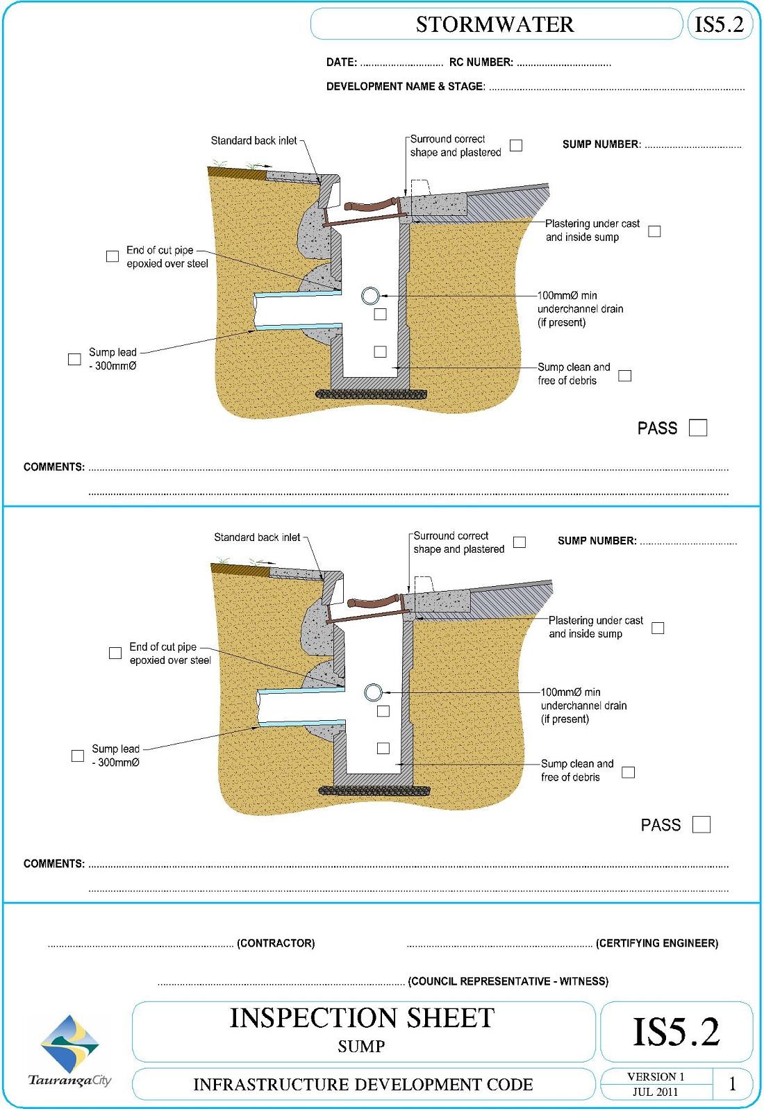 Inspection Sheet - Sump