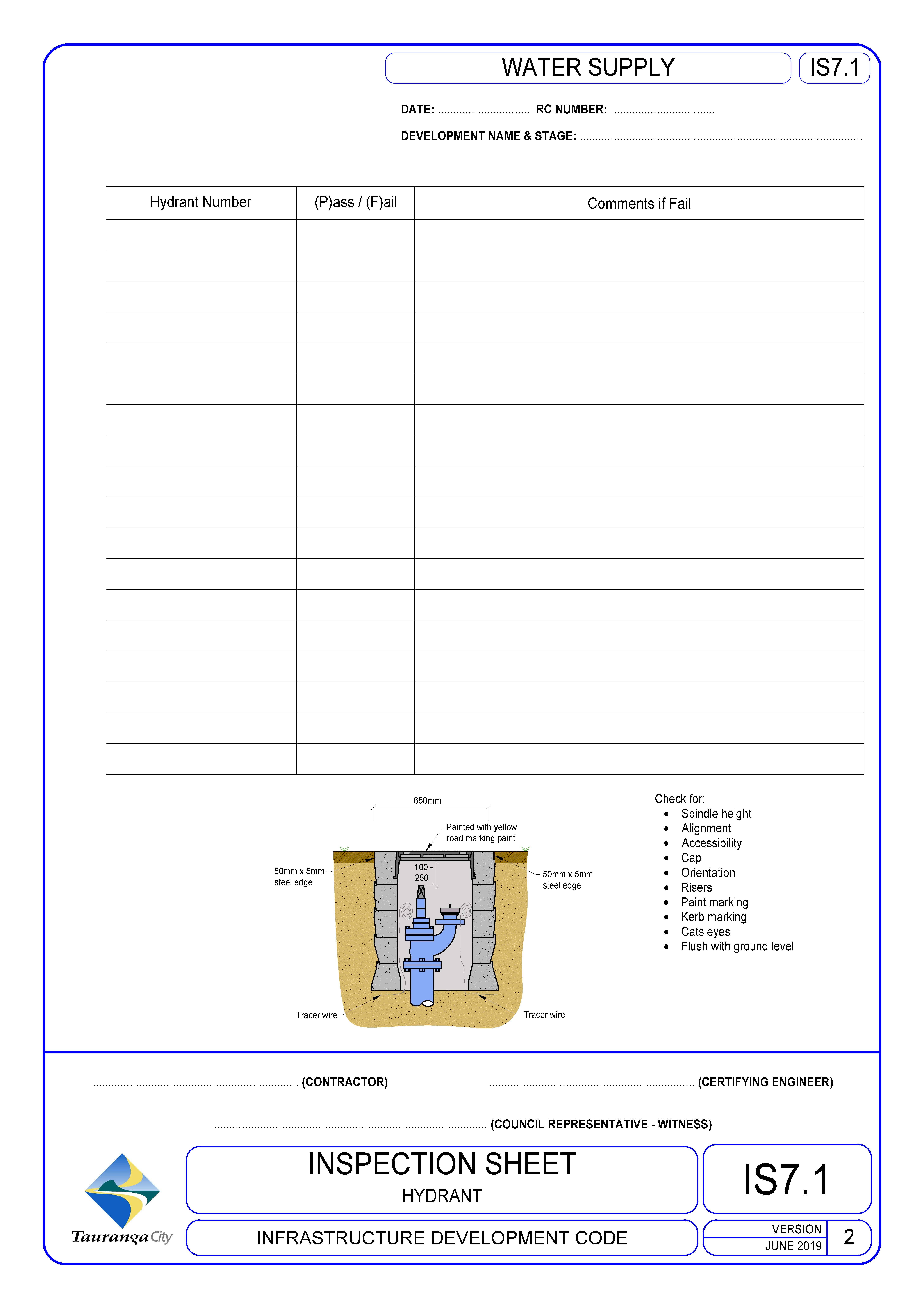 Inspection Sheet - Hydrant