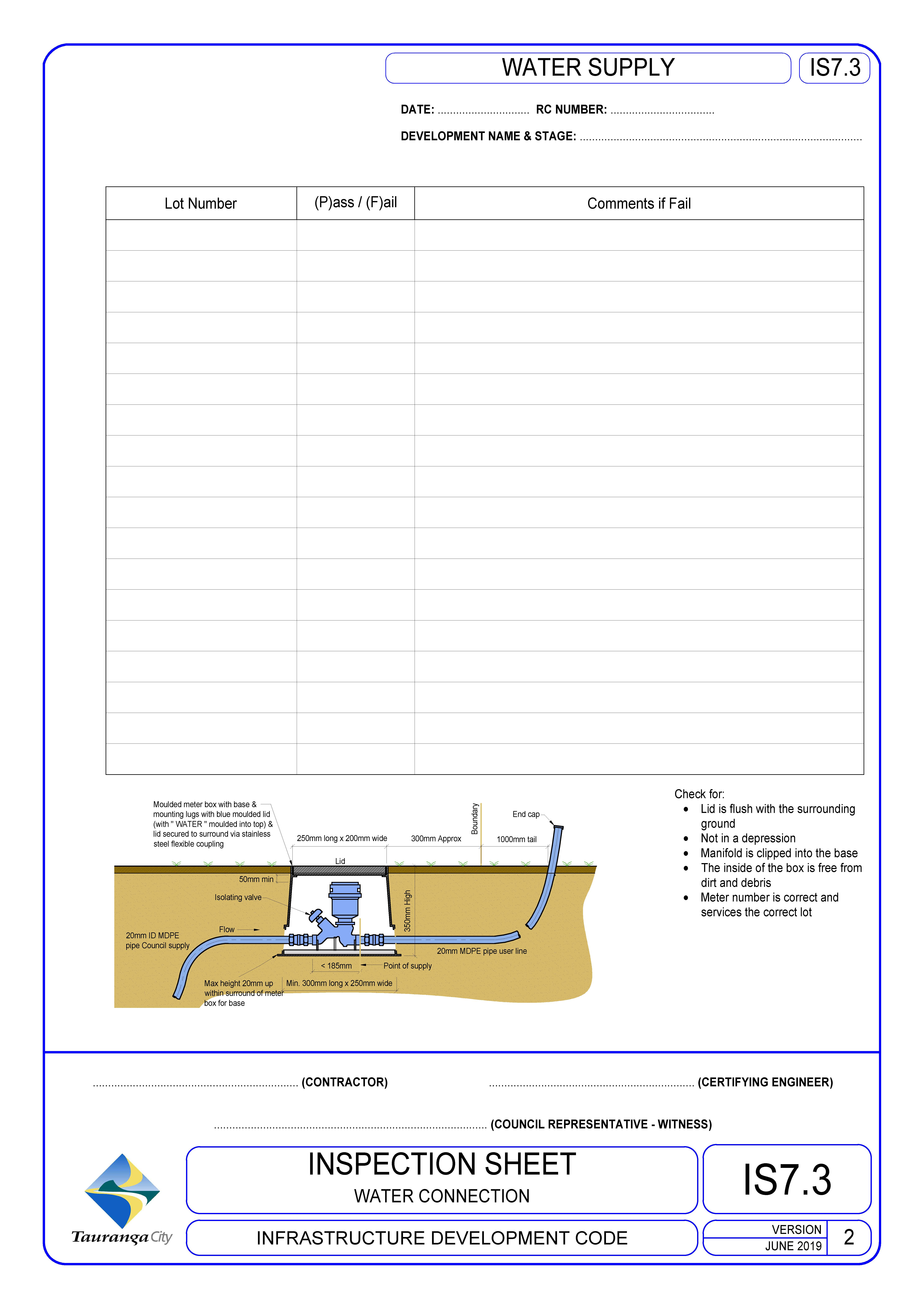 Inspection Sheet - Water Connection
