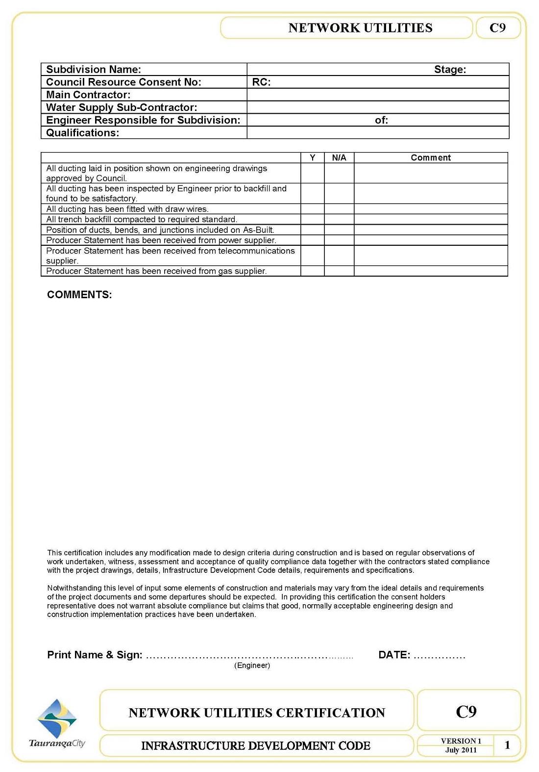 C9 Network Utilities Construction Certification