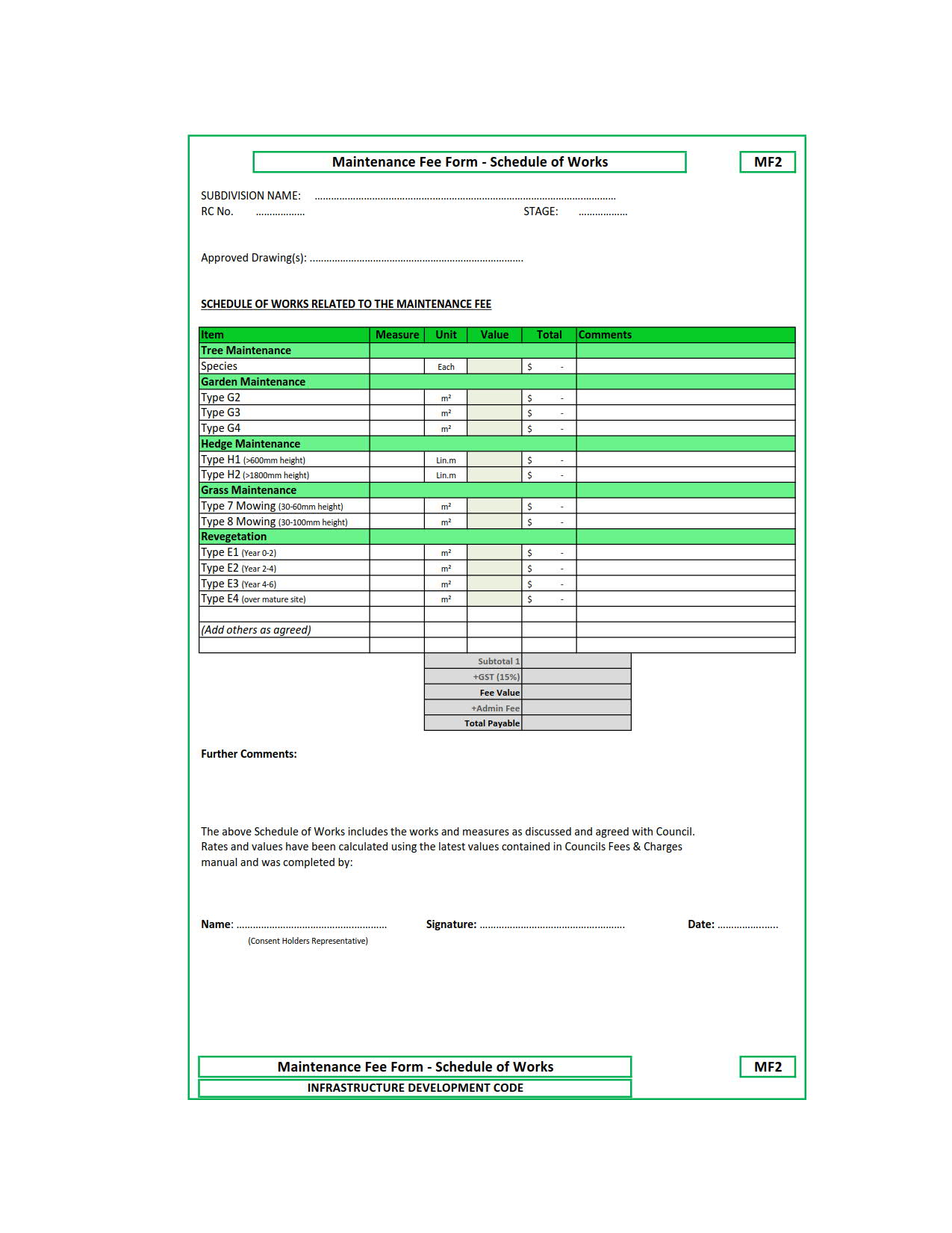 MF2 Maintenance Fee Form - Schedule Works