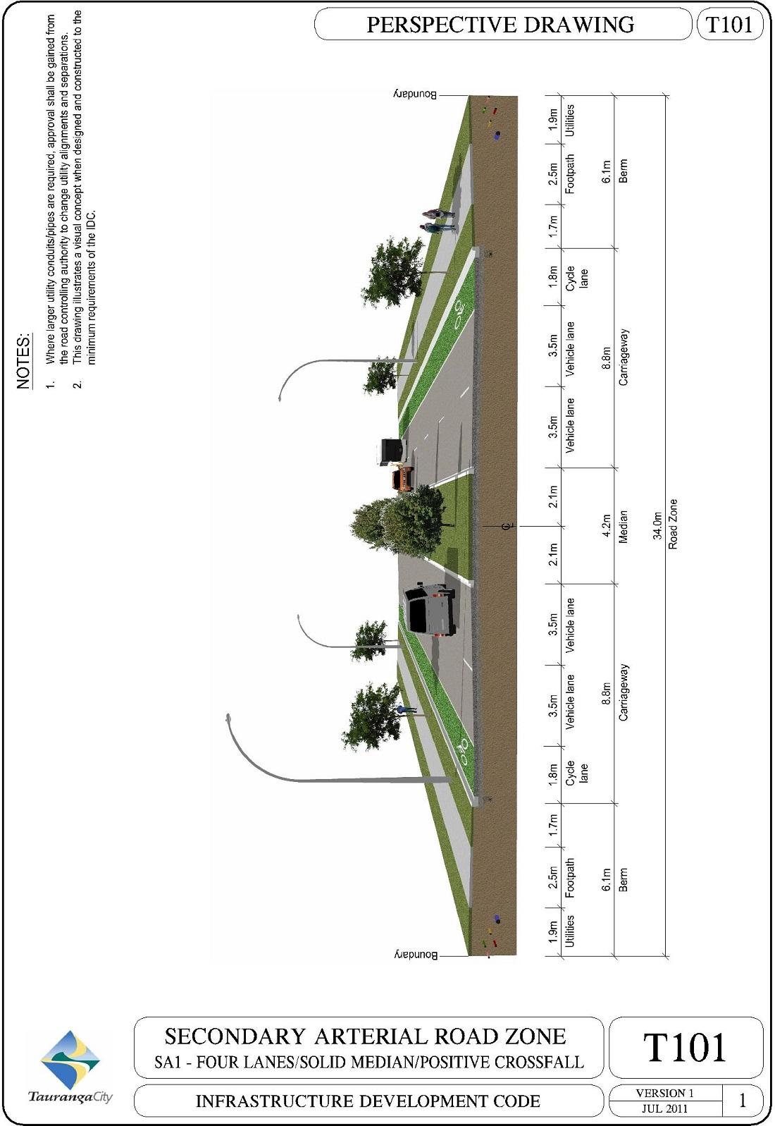 101-SA1-four Lanes/Solid Median/Positve Crossfall