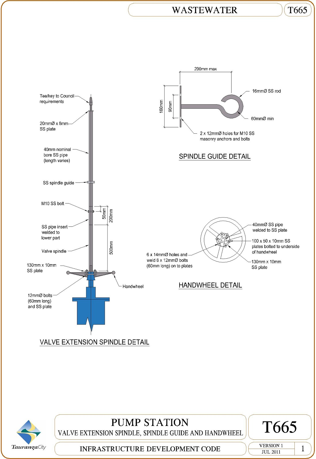 Pump Station - Valve Extension Spindle, Spindle Guide and Handwheel