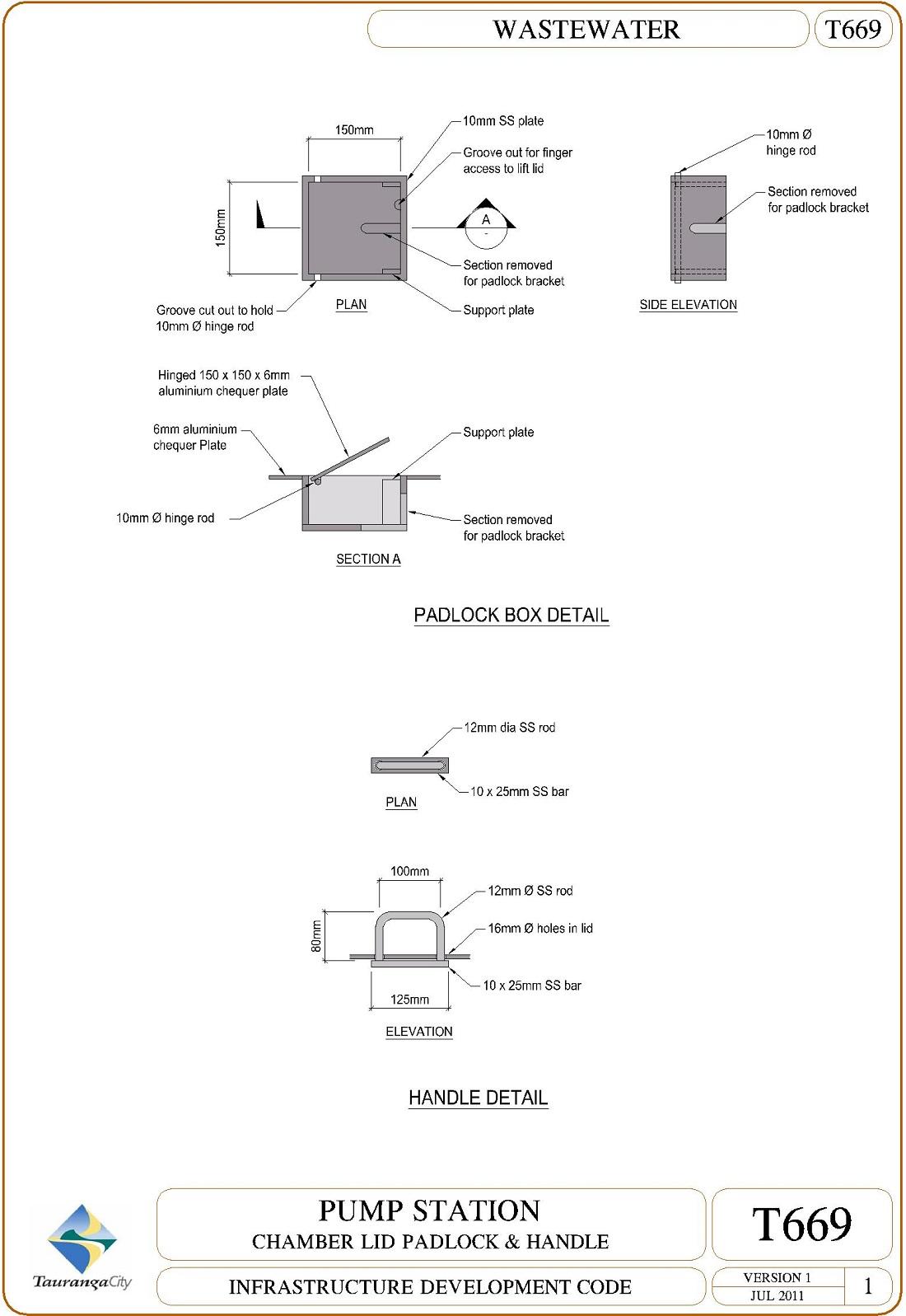 Pump Station - Chamber Lid Padlock and Handle