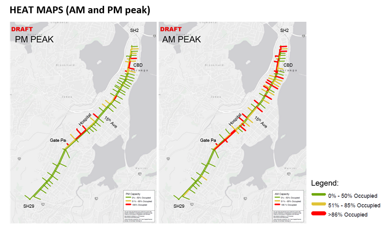 Cameron Road parking demand heat maps for am and pm peaks