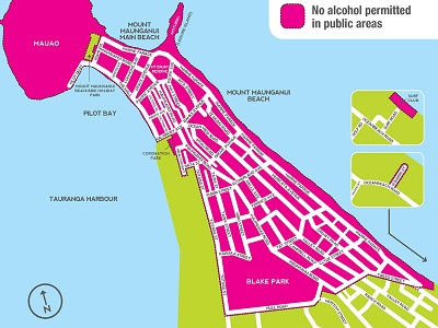 New year period alcohol free zone Mt Maunganui
