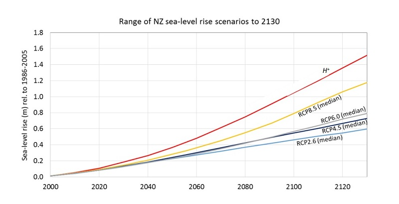 Sea level rise projections NZ graph